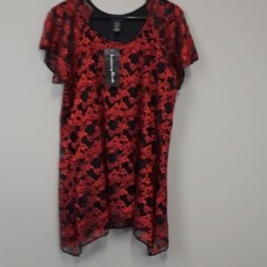 NWT Brittany Black red/black lace top plus size 2X